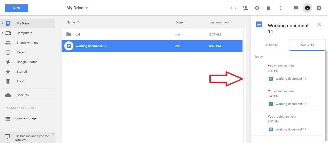 google drive Manage version history 2