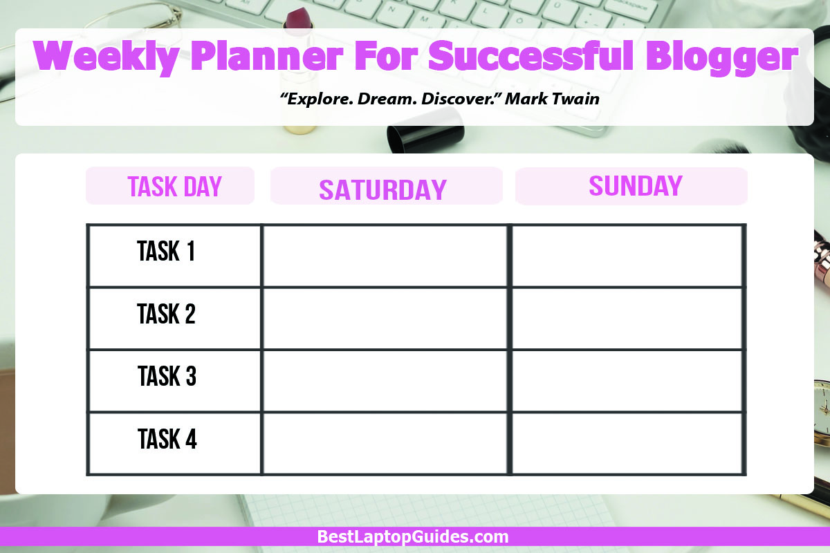 Weekly Planner For Blogger Detailed Saturday Sunday