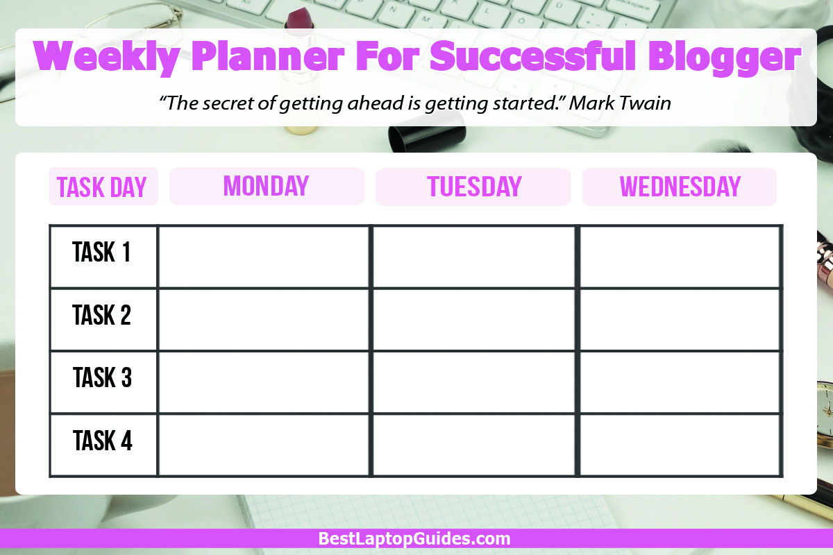 Weekly Planner For Blogger Detailed