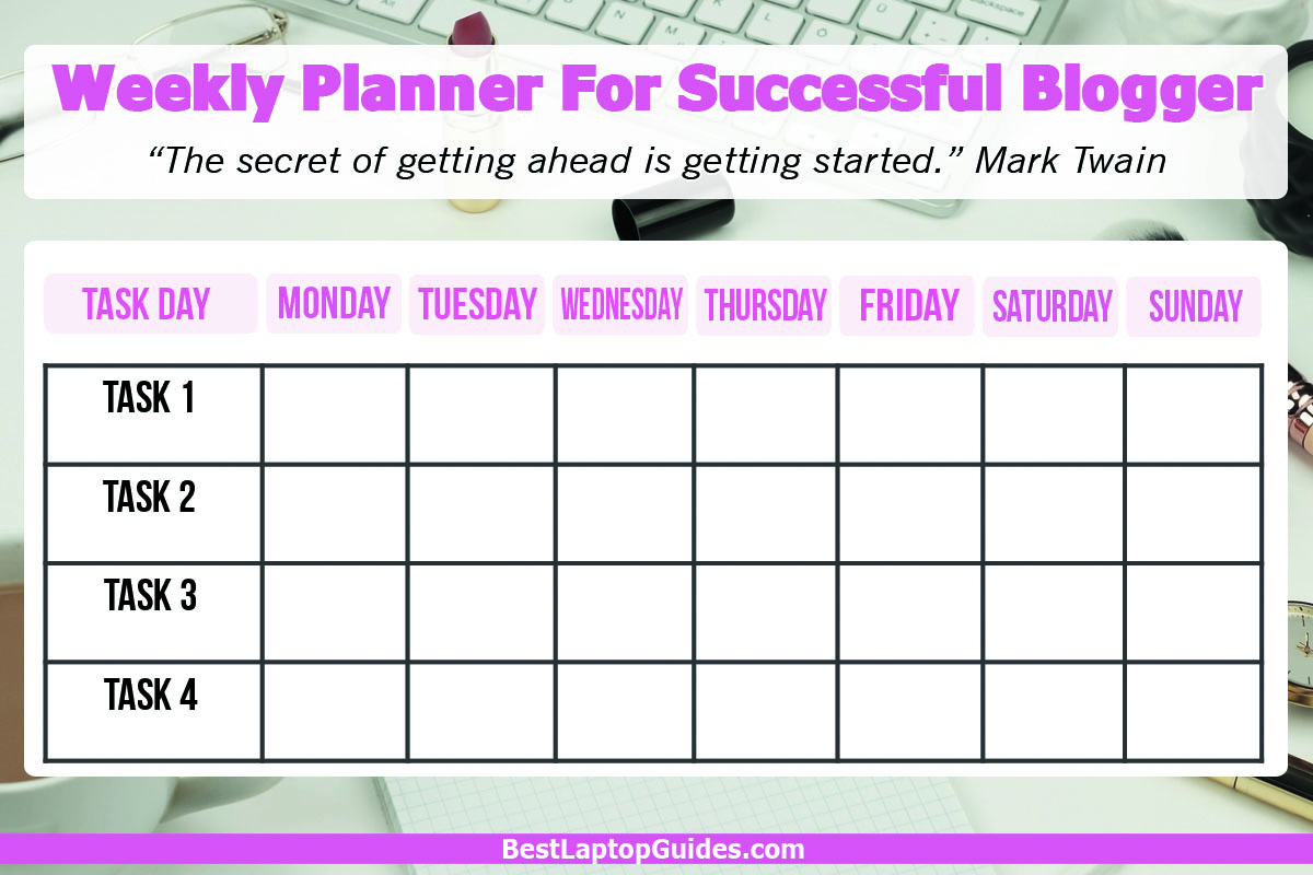 Weekly Planner For Successful Blogger