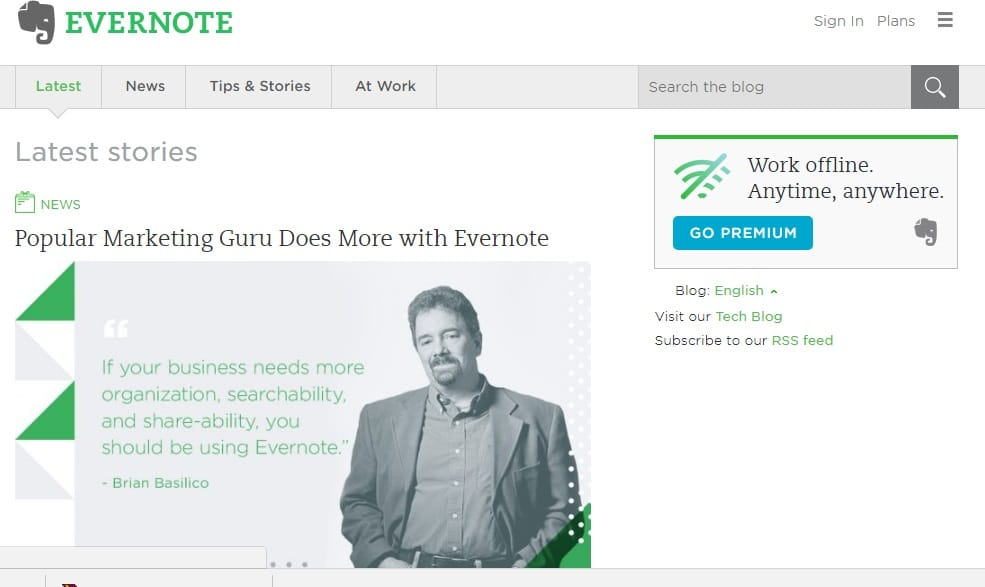 List of Business Blog Examples-Evernote Blog